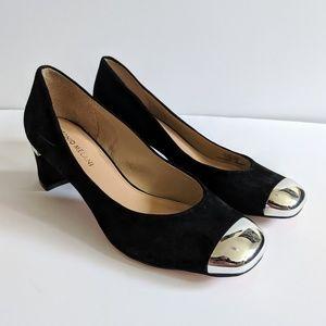 Antonio Melani Black Suede Leather Block Heels